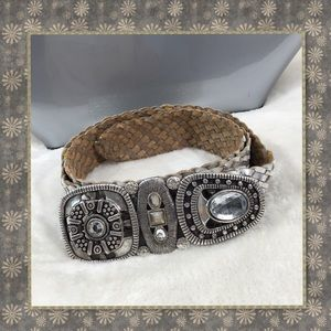 CHICOS SILVER BRADED BELT WITH RHINESTONE BUCKLE S